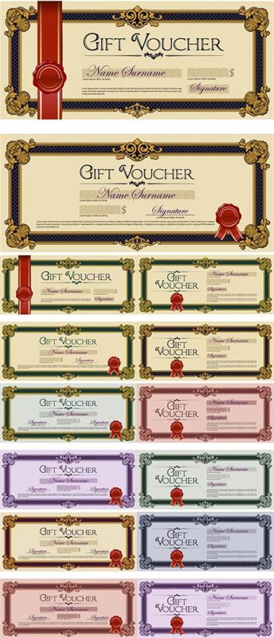 Stock Gift Voucher Colored vector