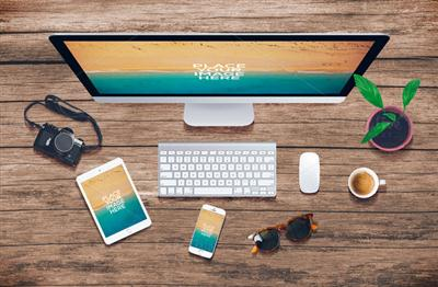 CreativeMarket - Devices On Wood - Mockups V2 491506