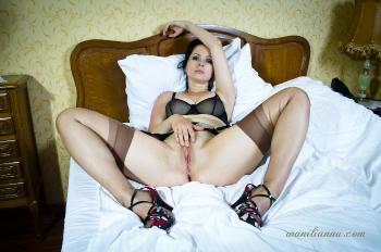 Black nylon panties and brown nylon stockings